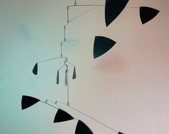 Black Mobile Kinetic Sculpture Modern Home Decor Calder Inspired Stress Reducing and Healing Art in Triangle Style