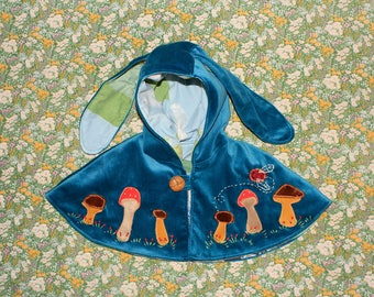 blue velvet bunny ear cape with mushroom applique