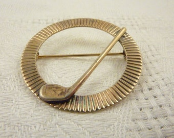 Antique Napier Gold Wash Sterling Gold Club Circle Laquered Brooch