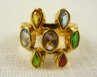 Size 9.5 Vintage Gold Plated Sterling Multi Colored Glass Ring