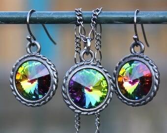 Dark Rainbow Gunmetal Black Necklace & Earring Set with Swarovski crystal rivolis - Gorgeous - Pastel Goth - Free shipping in USA