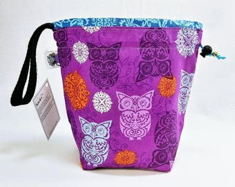 Small Knitting  Crochet Project Bag - Purple Owls