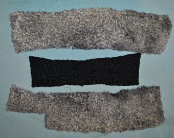 4 Vintage Persian Lamb Pieces Gray and Black