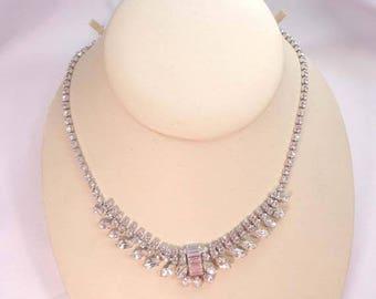 SALE B David Necklace Clear Rhinestone Silver Rhodium Plated Austrian Crystal Signed 872