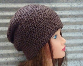 Taupe Slouchy Hat Crochet Beanie