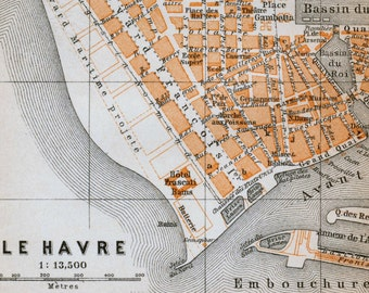 Antique Map of Le Havre, France - 1902 Vintage City Map - Old City Map