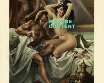 MATURE: 1956 Vintage Print showing a Scene from the Decameron. Illustrated by Gino Boccasile. Three's Company