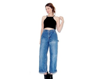 WTF HALF OFF 90s painters jeans / high waisted jeans straight leg mom jeans distressed jeans wide leg jeans cropped jeans boyfriend jeans