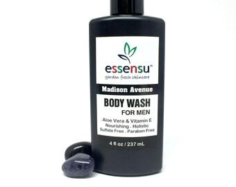 Madison Avenue Men's Organic Aloe Vera Natural Nourishing Body Wash | Sensitive Skin Formula | No Sulfates | No Parabens | Vegan - 4 oz