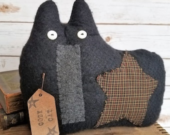 Folk Art Cozy Kitty, A Primitive Plush Pillow Shelf Sitter Home Decor Black Cat Art Doll