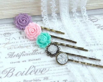 Pink Flower Hair Pins Purple Rose Hair Pins Flower Hair Pin Set Pastel Wedding Pink And Purple Hair Pins