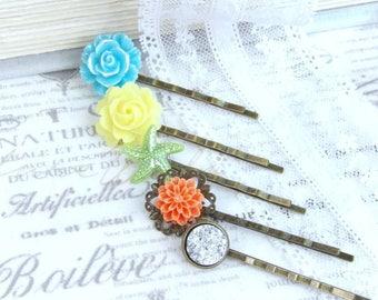 Bright Hair Pins Starfish Hair Pin Orange Hair Pin Set Of 5 Hair Pins Yellow Hair Pin Floral Hair Pin Set