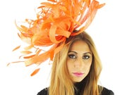 XL Ostrich - Orange Fascinator Hat  for Weddings, Occasions and Parties on a Headband - Available in 40 Colours