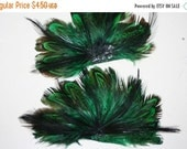 WINTER SALE Original Rooster Feather Emerald Green Bundle - approx 4 inches - 2 pcs