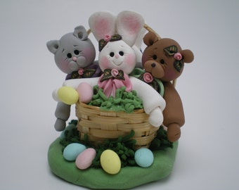 Polymer clay Easter Basket with 2 Bunnies, a Bear and a Kitty Cat - Handmade by Helen's Clay Art