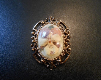 Real pansy ornate brooch