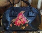 Leather Souvenir Flower Hibiscus Butterfly Purse Handbag Mexico Unlined 50s 60s Rockabilly Boho Hippie