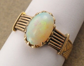 A Victorian Antique Ring, Yellow Gold and set with an Opal, Stamped and Tooled Design, (A1851)