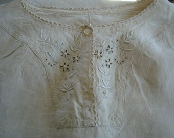 Vintage unbleached linen nightie from France - RESERVED for A