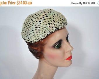 50% OFF SALE // 1950s sequin hat 50s fun white evening cap