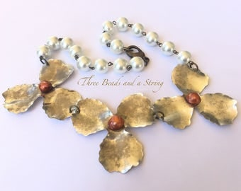 Sterling Silver Matte Plated Flowers with Pearl Centers and Rosary Chain Necklace