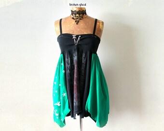 Rocker Chic Dress Up Cycled Clothing Babydoll Sundress Black Grunge Dress Women's Eco Fashion DIY Skull Clothes Flowy Sundress S M 'RAVONNE'