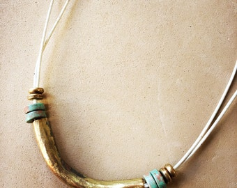 Simple Brass and White leather necklace.