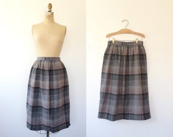 plaid wool skirt / 70s plaid skirt / Winter Skies skirt