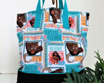 Moana Maui Child Tote / School Tote / Book Travel Bag / Overnight Bag / Embroidered with Childs name