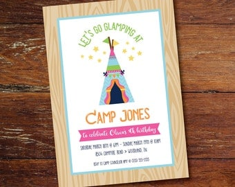 Glamping / Camping / Sleepover Birthday party invitation (custom), printable file