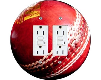 Cricket Ball Double GFI Outlet Plate Cover