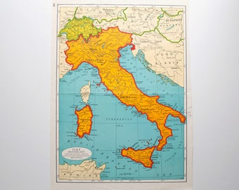 National Geographic map, Small Italy Map 1977