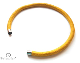 Mustard Collar neck cuff without clasp-ThousandTwist Freedom Collection-modern rigid necklace,textile fiber necklace pop minimal jewelry