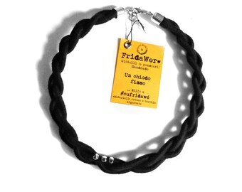 Statement Black Braided Necklace-ThousandBraids by FridaWer-Braided rope,Textile Necklace,Textile Jewelry,fiber necklace,black style,boho