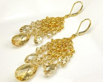 Gold Chandelier Earrings, Champagne Yellow Topaz Swarovski Crystal, Vermeil, Statement Wedding Earrings,  LongDangle, November Birthday Gift