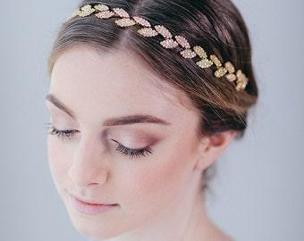 Gold Leaf Headband | Gold Leaf Hair Vine | Bridal Hairband | Wedding Hair Accessory | Rhinestone Leaf Headpiece [Gilded Ivy Hair Vine]