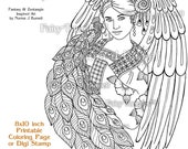 Angel and Peacock Fairy Tangles Printable Coloring Pages by Norma J Burnell Angels to color Digital Coloring Book Sheets