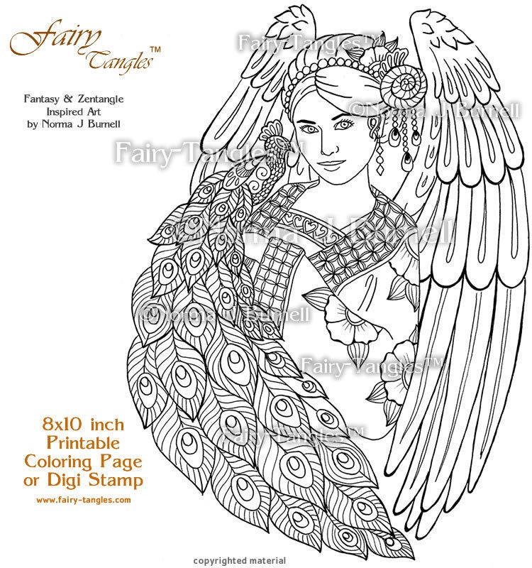 angel and peacock fairy tangles printable coloring pages by norma j burnell angels to color digital - Coloring Book Angels