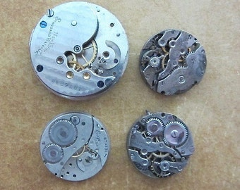Featured - Steampunk supplies - Watch movements - Vintage Antique Watch movements Steampunk - Scrapbooking B45