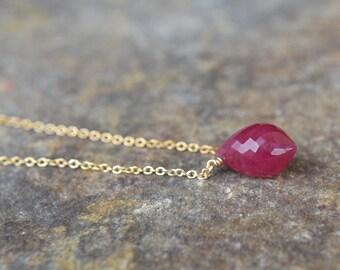 Genuine Ruby Necklace July Birthstone Necklace