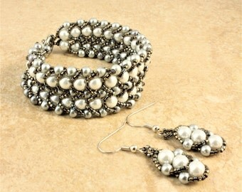 Double Row Silver Glass Pearl Flat Spiral Stitch Bracelet with Slate Glass Seed Beads