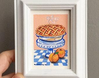 Tiny Original Art, Peach Pie, Gouache Painting