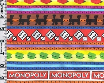 Fabric Quilting Treasures MONOPOLY game  money game pieces dice trains houses crosswise stripe out of print rare