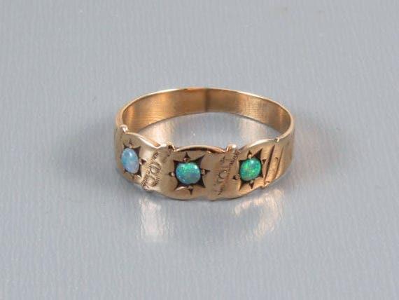 Antique Victorian 10k rose gold three opal band ring / size 5-1/2 / signed Heintz Brothers Jewelry (NY, NY)