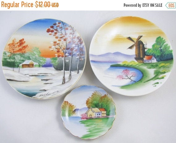 SPRING CLEANING SALE Lot of 3 vintage hand painted Japan decorative plates / porcelain / china / bone china / shabby chic / decor / wall han