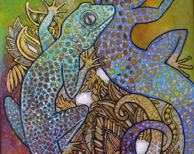 "Original ""Blue Geckos"" Painting by Lynnette Shelley"