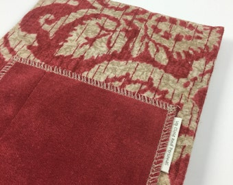 Fabric Covered Composition Book Journal with Pocket - Red Khaki Neutrals