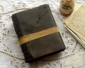 The Notemaker - Reclaimed Leather Journal, Dark Brown, Tea Stained Pages, French Linen Tie, OOAK
