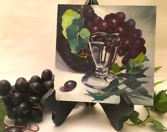 Grapes Oil Painting Kitchen Art Still Life Gift Ideas