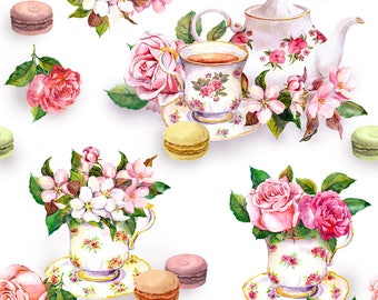 Dollhouse Miniature Wallpaper Pink Roses Floral Tea Time 1:12